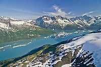 Aerial of Mt Muir and Mt Gilbert of the Chugach mountains, Harriman Fjord, Prince William Sound, Alaska
