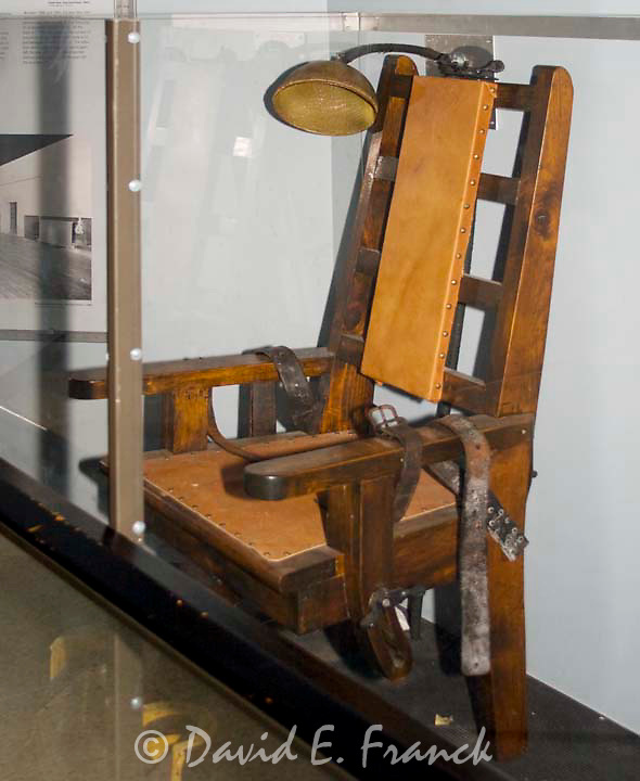 Replica of the electric chair at the Sing Sing Museum in Ossining New York