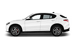 Car driver side profile view of a 2018 Alfa Romeo Stelvio Base 5 Door SUV