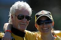 "Thom Heins and Michelle Morgan, NM-30 ""Pennzoil Big Bird"" (National Mod hydroplane(s)"