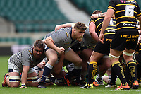 Daniel Matthews of Cheshire prepares to scrummage against his opposite number. Bill Beaumont County Championship Division 1 Final between Cheshire and Cornwall on June 2, 2019 at Twickenham Stadium in London, England. Photo by: Patrick Khachfe / Onside Images