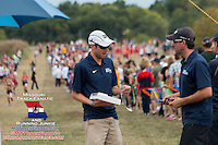 Big River Running Race Management's Matt Helbig (left), and Patrick Hamel (right), had a busy day Saturday with eight races and more than 1100 runners at the 2013 Parkway West Cross Country Invitational in Wildwood, Missouri, October 5th.