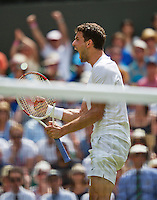 England, London, 28.06.2014. Tennis, Wimbledon, AELTC, Grigor Dimitrov (BUL) celebrates as he defeats titel holder Andy Murray (GBR)<br /> Photo: Tennisimages/Henk Koster