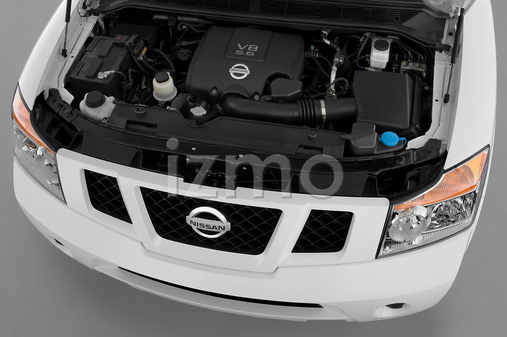 Car stock 2010 Nissan Armada SE 5 Door SUV engine high angle detail view