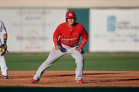 Palm Beach Cardinals Julio Rodriguez (34) leads off first base during a Florida State League game against the Lakeland Flying Tigers on May 22, 2019 at Publix Field at Joker Marchant Stadium in Lakeland, Florida.  Palm Beach defeated Lakeland 8-1.  (Mike Janes/Four Seam Images)