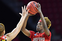 College Park, MD - March 23, 2019: Radford Highlanders guard Destinee Walker (10) shoots a jump shot during first round action of game between Radford and Maryland at Xfinity Center in College Park, MD. Maryland defeated Radford 73-51. (Photo by Phil Peters/Media Images International)