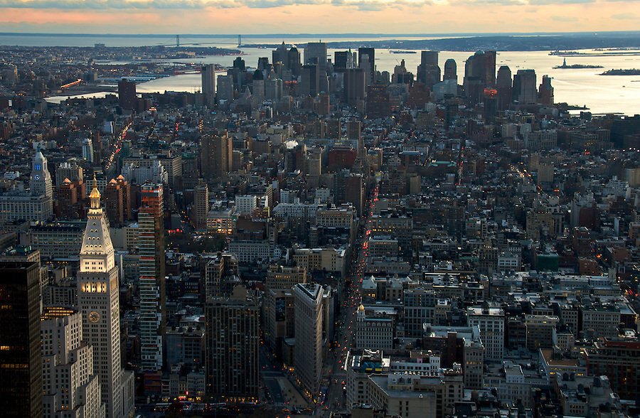 Panoramic View of Lower Manhattan at Dusk, New York, November 2008.