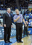 January 20, 2016 - Colorado Springs, Colorado, U.S. -  Air Force head coach, Dave Pilipovich, talks with an official during an NCAA basketball game between the Colorado State University Rams and the Air Force Academy Falcons at Clune Arena, United States Air Force Academy, Colorado Springs, Colorado.  Colorado State defeats Air Force 83-79.