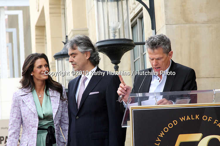 Veronica Berti; Andrea Bocelli , David Foster.arriving at the Hollywood Walk of Fame Star Ceremony for Andrea Bocelli.Roosevelt Hotel.Los Angeles, CA.March 2, 2010.©2010 Kathy Hutchins / Hutchins Photo....