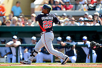 Atlanta Braves infielder Juan Francisco #25 hits a home run during a Spring Training game against the Detroit Tigers at Joker Marchant Stadium on February 27, 2013 in Lakeland, Florida.  Atlanta defeated Detroit 5-3.  (Mike Janes/Four Seam Images)