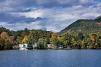 Lakefront houses on Lake Dunmore, Salisbury, Vermont, USA.