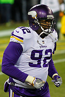 Minnesota Vikings defensive tackle Tom Johnson (92) during a National Football League game against the Green Bay Packers on December 23rd, 2017 at Lambeau Field in Green Bay, Wisconsin. Minnesota defeated Green Bay 16-0. (Brad Krause/Krause Sports Photography)