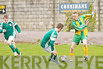 Kerry forward Craig OHara shows the ball to Limerick County defender Hugh ONeill in their Inter County U/16 match at Tralee Dynamos pitch on Sunday..
