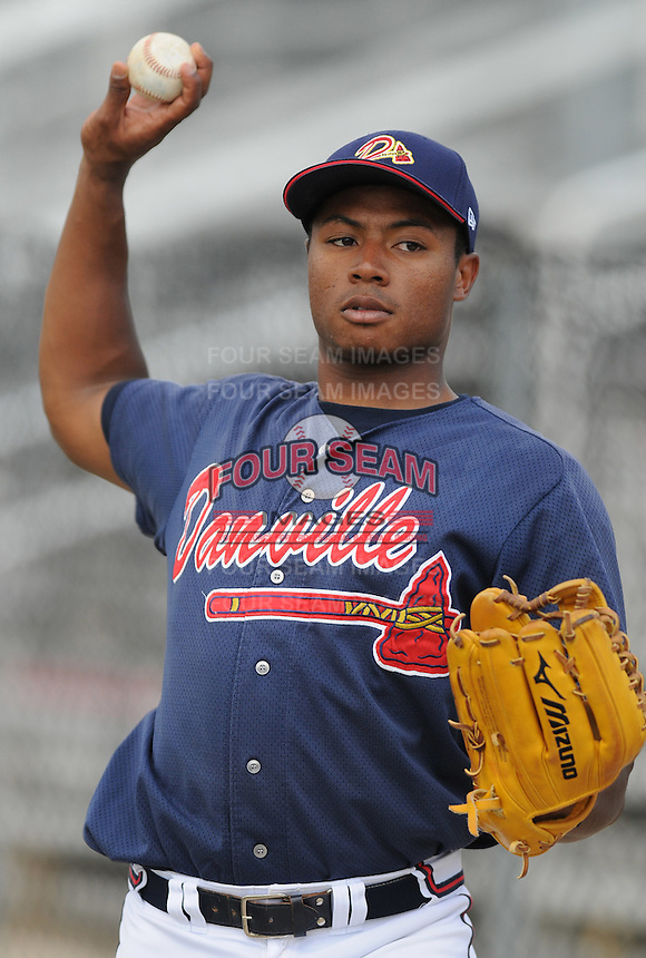June 18, 2008: Outfielder Mike Elkerson (17) of the Danville Braves, rookie Appalachian League affiliate of the Atlanta Braves, prior to a game against the Burlington Royals at Dan Daniel Memorial Park in Danville, Va. Photo by:  Tom Priddy/Four Seam Images
