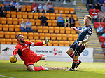 12.05.2018 St Johnstone v Ross County: Craig Curran fires past keeper Alan Mannus to score for Ross County
