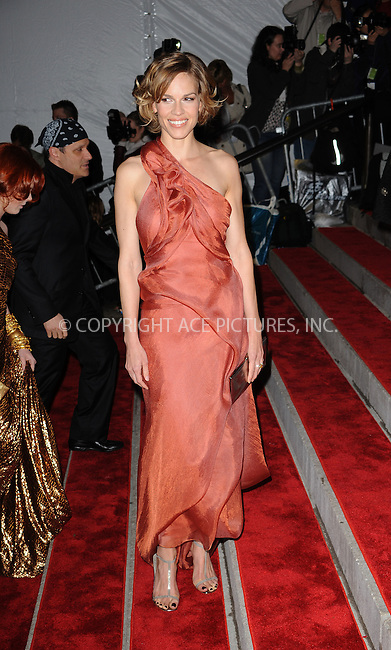 WWW.ACEPIXS.COM . . . . . ....May 4 2009, New York City....Actress Hilary Swank arriving at 'The Model as Muse: Embodying Fashion' Costume Institute Gala at The Metropolitan Museum of Art on May 4, 2009 in New York City.....Please byline: KRISTIN CALLAHAN - ACEPIXS.COM.. . . . . . ..Ace Pictures, Inc:  ..tel: (212) 243 8787 or (646) 769 0430..e-mail: info@acepixs.com..web: http://www.acepixs.com