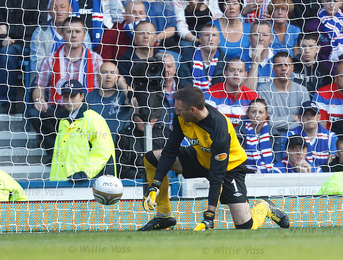 Allan McGregor fumbles Baddur Ek Kaddouri's shot and it slips past him into the net