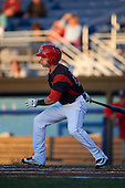 Batavia Muckdogs second baseman Sutton Whiting (49) at bat during a game against the Williamsport Crosscutters on September 2, 2016 at Dwyer Stadium in Batavia, New York.  Williamsport defeated Batavia 9-1. (Mike Janes/Four Seam Images)