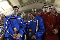 The University of Florida 400 Medley Relay Team compete in the 400 Medley Relay at the 2011 Men's NCAA Swimming & Diving Championships being held at the University of Minnesota in Minneapolis, MN. March 24th - 26th, 2011.