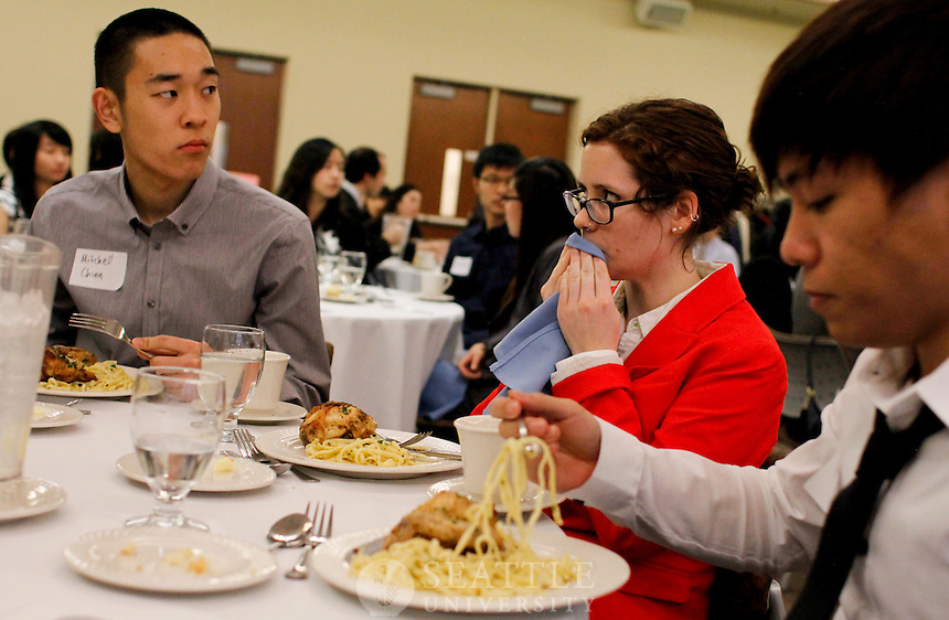 Seattle University Albers students participate in a Etiquette dinner