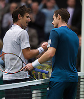 12-02-14, Netherlands,Rotterdam,Ahoy, ABNAMROWTT,Andy Murray(GRB) and Edouard Roger-Vasselin(FRA)<br /> Photo:Tennisimages/Henk Koster