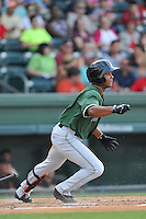 Second baseman Richard Amion (22) of the Augusta GreenJackets bats in a game against the Greenville Drive on Thursday, June 9, 2016, at Fluor Field at the West End in Greenville, South Carolina. Augusta won, 8-2. (Tom Priddy/Four Seam Images)