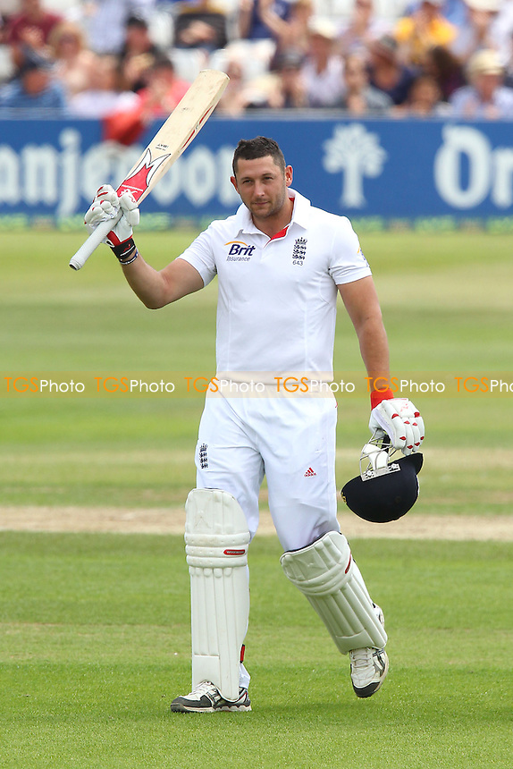 Tim Bresnan celebrates a century, 100 runs for England - Essex CCC vs England - LV Challenge Match at the Essex County Ground, Chelmsford - 01/07/13 - MANDATORY CREDIT: Gavin Ellis/TGSPHOTO - Self billing applies where appropriate - 0845 094 6026 - contact@tgsphoto.co.uk - NO UNPAID USE