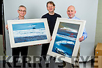 John Hurley Paintings for Kerry's Eye Competition, from left: Colin Lacey, Editor Kerry's Eye, John Hurley, Artist and Brendaan Kennelly, Marketing Manager, Kerry's Eye.