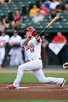 Peoria Chiefs catcher Carson Kelly (19) at bat during a game against the Kane County Cougars on June 2, 2014 at Dozer Park in Peoria, Illinois.  Peoria defeated Kane County 5-3.  (Mike Janes/Four Seam Images)