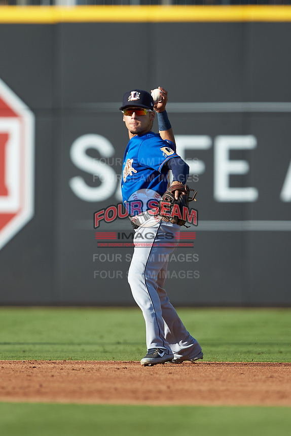 Durham Bulls shortstop Andrew Velazquez (13) on defense against the Charlotte Knights at BB&T BallPark on July 4, 2018 in Charlotte, North Carolina. The Knights defeated the Bulls 4-2.  (Brian Westerholt/Four Seam Images)