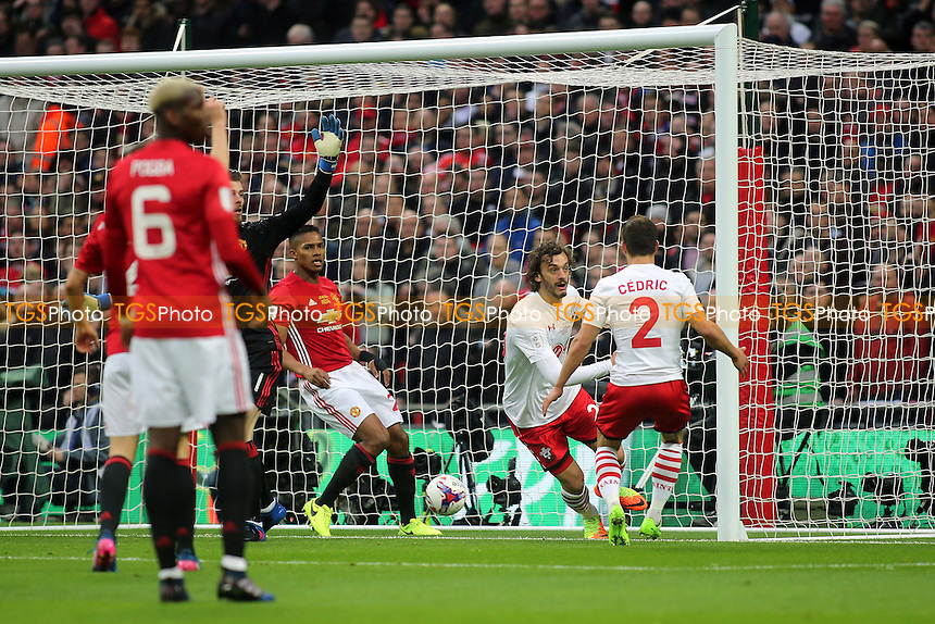 Southampton's Manolo Gabbiadini scores from close range, but the goal was incorrectly disallowed for offside during Manchester United vs Southampton, EFL Cup Final Football at Wembley Stadium on 26th February 2017
