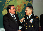Visit of Richard Holbrooke, United States Special Envoy, to North Atlantic Treaty Organization (NATO) headquarters in Brussels, Belgium on March 22, 1999 to discuss the crisis situation in Kosovo. Left to right:  Richard Holbrooke talking with United States Army General Wesley Clark, Supreme Allied Commander Europe (SACEUR).  .Credit: NATO via CNP