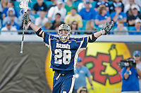 February 20, 2011:   Notre Dame midfield Zach Brenneman (28) celebrates a score during Lacrosse action between the Duke Blue Devils and Notre Dame Fighting Irish during the Moe's Southwest SunShine Classic played at EverBank Field in Jacksonville, Florida. Notre Dame defeated Duke 12-7.