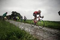 Jurgen Van den Broeck (BEL/Lotto-Belisol) going strong over the cobbles of sector 6<br /> <br /> 2014 Tour de France<br /> stage 5: Ypres/Ieper (BEL) - Arenberg Porte du Hainaut (155km)