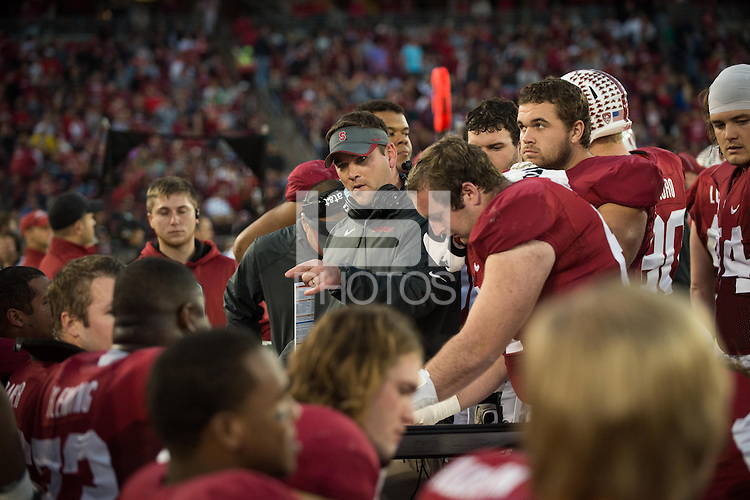 STANFORD, CA - The Stanford Cardinal defeat the visiting Notre Dame Fighting Irish to win the annual Legends Trophy at Stanford Stadium. The Cardinal finishes the season 10-2, winning the PAC-12 North title.