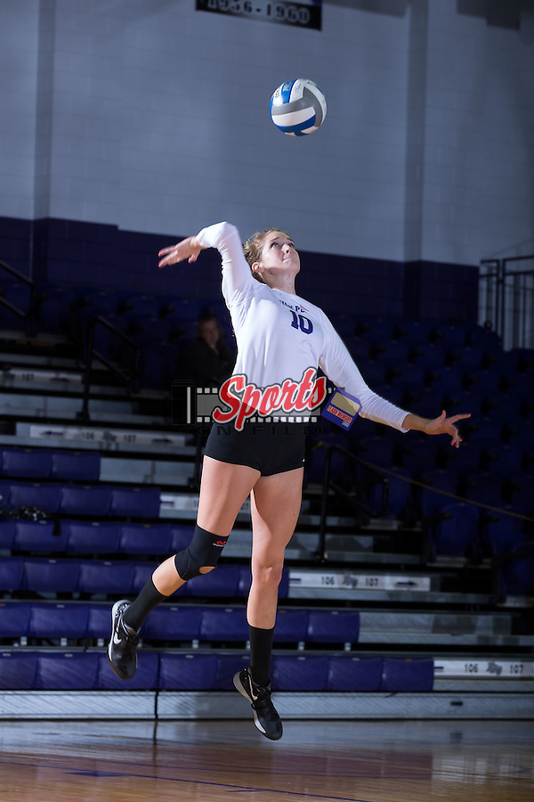 Savannah Angel (10) of the High Point Panthers serves against the Wake Forest Demon Deacons at the Panther Invitational at the Millis Athletic Center on September 12, 2015 in High Point, North Carolina.  The Demon Deacons defeated the Panthers 3-1.   (Brian Westerholt/Sports On Film)