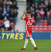 5th November 2017, Riverside Stadium, Middlesbrough, England; EFL Championship football, Middlesbrough versus Sunderland; Match Winner Marcus Tavernier of Middlesbrough thanks the fans after he was subbed in the second half of the 1-0 win