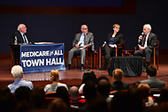 "Washington, DC - January 23, 2018: U.S. Senator Bernie Sanders holds a ""Medicare Town Hall"" at the U.S. Capitol Visitor's Center auditorium January 23, 2018, in conjunction with NowThis and The Young Turks. (Panel L-R: Richard Master, CEO of MCS Industries Inc; Jen Kimmich, co-founder of The Alchemist Brewery; Dr. Don Berwick, former administrator Medicare/Medicaid Services. (Photo by Don Baxter/Media Images International)"