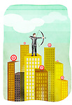 Businessman aiming with a bow and arrow