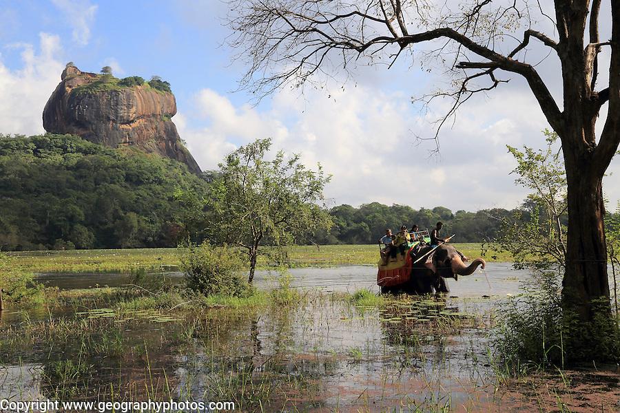 Elephant ride in lake by rock palace, Sigiriya, Central Province, Sri Lanka, Asia