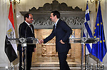 Egyptian President Abdel Fattah al-Sisi gives a joint press conference with Greece's Prime Minister Alexis Tsipras in Athens on December 8, 2015. Sisi started a two-day visit to Greece for talks focused on energy cooperation. Photo by Egyptian President Office