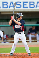 Tuffy Gosewisch #7 of the United States World Cup/Pan Am Team at bat against Team Canada at the USA Baseball National Training Center on September 28, 2011 in Cary, North Carolina.  (Brian Westerholt / Four Seam Images)