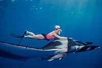 snorkeler and oceanic manta ray, Manta birostris, at The Boiler, San Benedicto, Revillagigedos ( Socorro ) Islands, Mexico ( E. Pacific )
