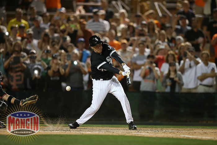 GLENDALE, AZ - MARCH 12:  Actor Will Ferrell of the Chicago White Sox bats against the San Francisco Giants during a spring training game at Camelback Ranch on March 12, 2015 in Glendale, Arizona. (Photo by Brad Mangin)