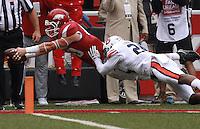 Arkansas Democrat-Gazette/BENJAMIN KRAIN --10/24/2015--<br /> Arkansas wide receiver Drew Morgan (80) dives across the goal line for the 4th OT touchdown giving the Razorbacks a 54-46 victory over Auburn in Fayetteville.