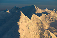 Aerial view of the Alaska Range mountains. mount Brooks (center) and silverthorne mountain in the distance. Denali National Park, Interior, Alaska.