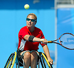 Hélène Simard, de Baie Comeau. tennis en double à Athènes.<br /> (Benoit Pelosse photographe,)