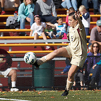 Boston College midfielder Maddie Payne (6) controls the ball..After two overtime periods, Boston College (gold) tied University of Miami (orange), 0-0, at Newton Campus Field, October 21, 2012.