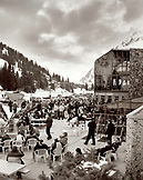 USA, Utah, apres ski crowd at the mountain base, Alta Ski Resort (B&W)