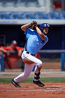 Charlotte Stone Crabs right fielder Nathan Lukes (4) follows through on a swing during a game against the Palm Beach Cardinals on April 12, 2017 at Charlotte Sports Park in Port Charlotte, Florida.  Palm Beach defeated Charlotte 8-7.  (Mike Janes/Four Seam Images)